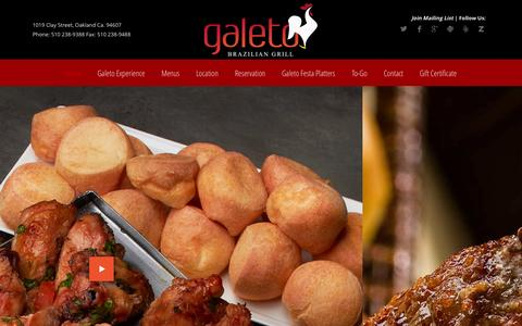 Screenshot of Home Page galeto.com - Galeto Brazilian Grill & Steakhouse - Fine Dining in Oakland CA - captured Oct. 1, 2014
