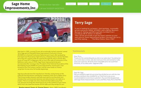 Screenshot of About Page sagehomeimprove.com - About - captured Oct. 1, 2018
