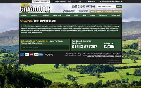 Screenshot of Privacy Page johncraddockltd.co.uk - Privacy Policy - John Craddock Land Rover Parts Website - captured Sept. 23, 2014