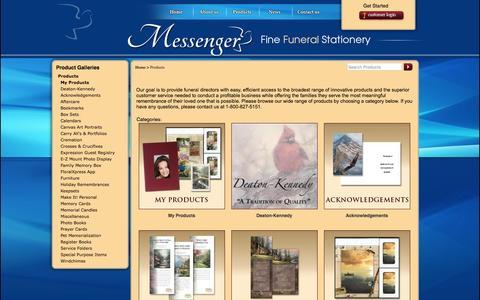 Screenshot of Products Page messengerstationery.com - Messenger Fine Funeral Stationery - captured Feb. 13, 2016