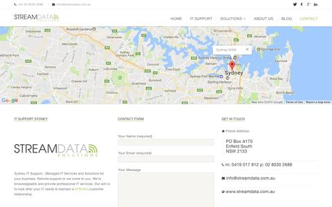 Screenshot of Contact Page streamdata.com.au - Contact Us | Stream Data Solutions - captured Dec. 16, 2016
