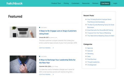 Screenshot of Blog hatchbuck.com - Featured Archives - Hatchbuck - captured Jan. 13, 2017