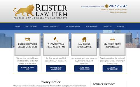 Screenshot of Privacy Page reisterlawfirm.com - Privacy Policy | Dallas Bankruptcy Lawyer | Debt Relief in Dallas County - captured Oct. 7, 2014