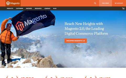 Screenshot of Home Page magento.com - eCommerce Software & eCommerce Platform Solutions | Magento - captured Nov. 18, 2015