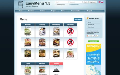 Screenshot of Menu Page easy-menu.co - Menu - EasyMenu - captured Nov. 2, 2014