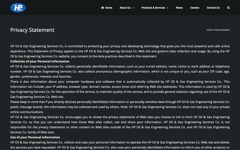 Screenshot of Privacy Page hpogc.com - Privacy Statement - HPOGC - captured Nov. 4, 2018
