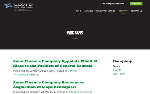 Screenshot of Press Page lloydhelicopters.com - News | Lloyd Helicopters - captured July 22, 2018