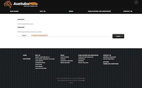 Screenshot of Login Page austubemills.com - User account | Austube Mills - captured Oct. 4, 2014