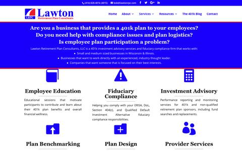 Screenshot of Services Page lawtonrpc.com - 401k Investment Advisory Services | Wisconsin & Illinois - captured July 21, 2017