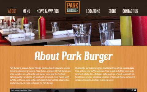 Screenshot of About Page parkburger.com - Park Burger   About - captured Sept. 27, 2014