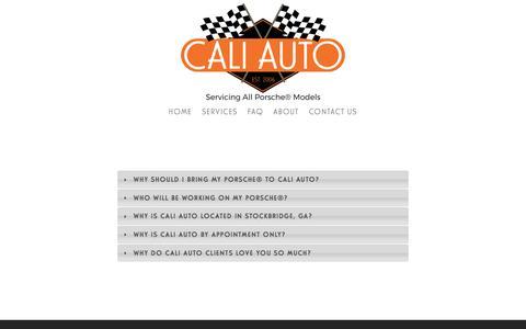 Screenshot of FAQ Page atlantaporscherepaircaliauto.com - FAQ —     Cali Auto: Exclusive Porsche Mechanic® - captured Oct. 16, 2016