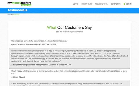 Screenshot of Testimonials Page mymoneymantra.com - MyMoneyMantra (All Testimonials) - captured June 14, 2017