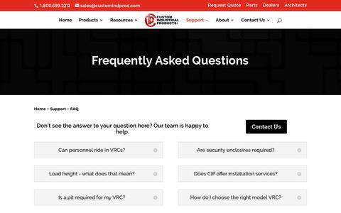 Screenshot of FAQ Page customindprod.com - FAQ | Custom Industrial Products - captured Feb. 15, 2018