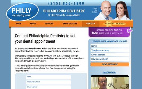 Screenshot of Hours Page phillydentistry.com - Contact Dr. Ken Cirka - Philadelphia Dentist 19102 - captured Nov. 27, 2016
