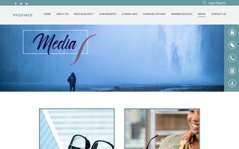 Screenshot of Press Page profmed.co.za - Profmed Media | Profmed Medical Aid Scheme - captured Nov. 5, 2018