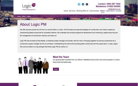 Screenshot of About Page logicpm.co.uk - About Logic PM | Project Management & Construction Consultancy | Logic PM - captured Jan. 31, 2016