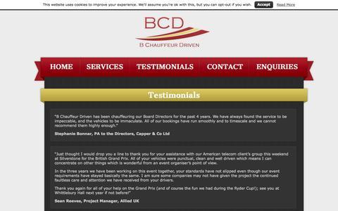 Screenshot of Testimonials Page bchauffeurdriven.net - Customer Reviews | B Chauffeur Driven - captured Sept. 27, 2014