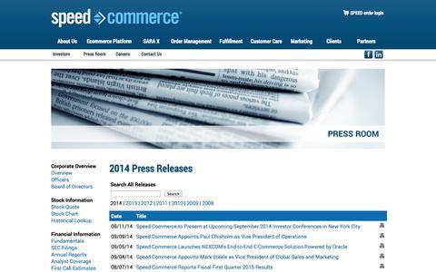 Screenshot of Press Page speedcommerce.com - Speed Commerce - captured Sept. 19, 2014