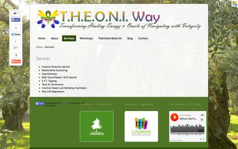 Screenshot of Services Page theoniway.com - Services | T.H.E.O.N.I. Way - captured Sept. 30, 2014