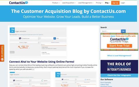 Screenshot of Blog contactus.com - The Customer Acquisition Blog by ContactUs.com | ContactUs.com - captured June 16, 2015