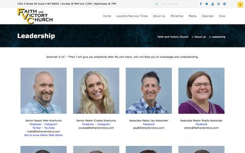Screenshot of Team Page faithandvictory.com - Leadership - Faith and Victory Church - captured Oct. 13, 2017