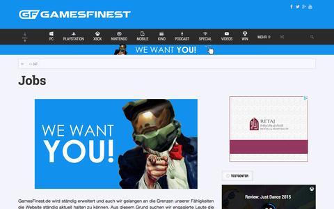 Screenshot of Jobs Page gamesfinest.de - Jobs | GamesFinest - captured Oct. 28, 2014