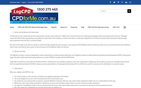 Screenshot of Terms Page cpdforme.com.au - CPD for Me, Terms of Use and Conditions for Subscribers - captured April 18, 2017