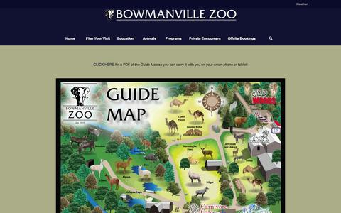Screenshot of Maps & Directions Page bowmanvillezoo.com - Bowmanville Zoo |   Map of Zoo - captured Feb. 8, 2016