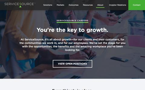Screenshot of Jobs Page servicesource.com - Careers - ServiceSource - captured April 25, 2018