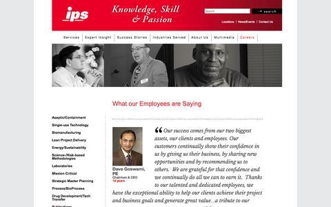 Screenshot of Testimonials Page ipsdb.com - Job Postings - Integrated Project Services - IPS - captured Oct. 3, 2014