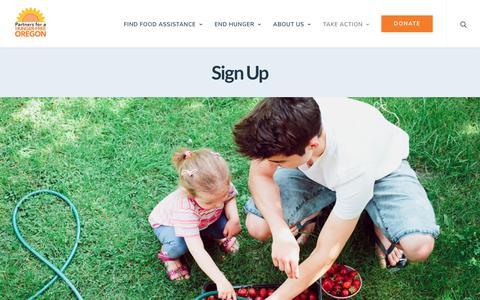 Screenshot of Signup Page oregonhunger.org - Sign Up - Partners for a Hunger-Free Oregon - captured Sept. 27, 2018