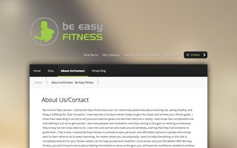 Screenshot of Contact Page beeasyfitness.com - About Us/Contact - Be Easy Fitness - captured Oct. 5, 2014