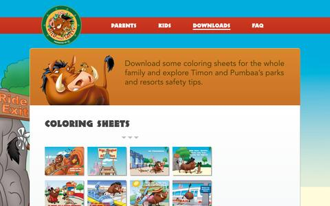 Screenshot of Home Page disneywildaboutsafety.com - Coloring Sheets - Disney Wild About Safety - captured Sept. 22, 2015