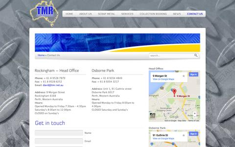 Screenshot of Contact Page tmr.net.au - Contact Us   Total Metal Recyclers - captured Oct. 9, 2014