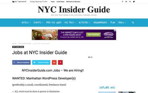 Screenshot of Jobs Page nycinsiderguide.com - Jobs at NYC Insider Guide – Wordpress Developers Manhattan, New York City - captured Sept. 28, 2016