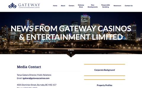 Screenshot of Press Page gatewaycasinos.com - Newsroom | Gateway Casinos and Entertainment Limited - captured Jan. 26, 2016