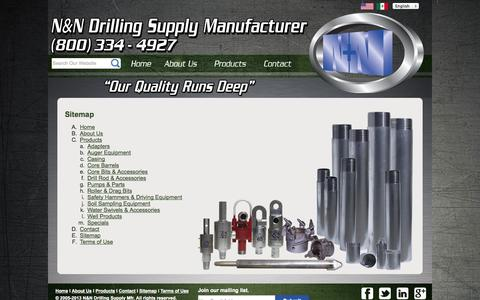 Screenshot of Site Map Page nndrilling.com - N&N Drilling Supply | Sitemap - captured Oct. 3, 2014
