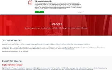 Screenshot of Jobs Page hantecfx.com - Careers Financial industry - Hantec Markets - captured July 12, 2018