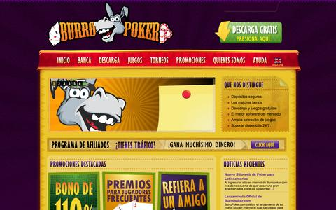 Screenshot of Home Page burropoker.com - Poker, Póquer o Póker en Línea en Burro Poker - captured Oct. 5, 2014