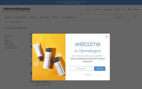 Screenshot of Support Page dermalogica.com - Customer Service - Dermalogica - captured April 27, 2019
