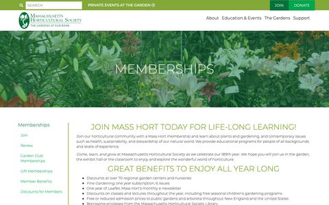 Screenshot of Support Page masshort.org - Memberships - Massachusetts Horticultural Society | Massachusetts Horticultural Society - captured Oct. 1, 2018