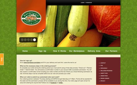 Screenshot of FAQ Page byproduce.com - Frequently Asked Questions | Backyard Produce - captured Jan. 22, 2016