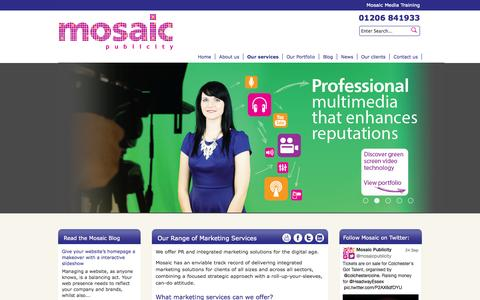 Screenshot of Services Page mosaicpublicity.co.uk - Our Range of Marketing Services | Mosaic Integrated Marketing Services - captured Oct. 9, 2014