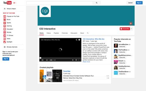 Screenshot of YouTube Page youtube.com - CGI Interactive  - YouTube - captured Oct. 22, 2014