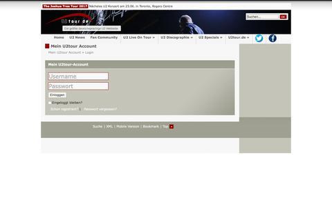 Screenshot of Login Page u2tour.de - Mein U2tour Account - Login - U2tour.de - captured June 23, 2017