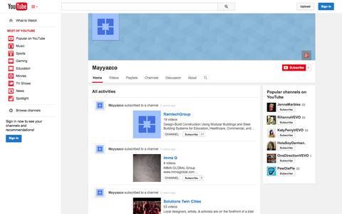 Screenshot of YouTube Page youtube.com - Mayyazco  - YouTube - captured Nov. 3, 2014