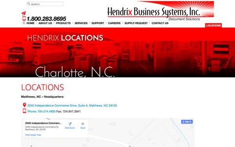 Screenshot of Locations Page hendrixbusiness.com - Locations - Hendrix Business Systems, Inc. - captured Sept. 28, 2018