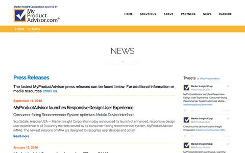 Screenshot of Press Page marketinsightcorp.com - NEWS | Market Insight Corporation - captured Nov. 27, 2016