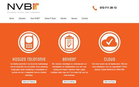 Screenshot of Home Page nvbit.nl - NVBIT - ICT en Telefonie voor het MKB - captured Oct. 6, 2014