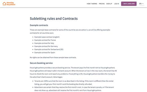 Screenshot of Terms Page housinganywhere.com - Subletting rules and Contracts - captured Nov. 12, 2019